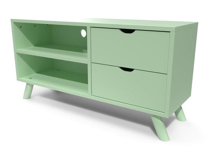 meuble tv scandinave viking bois vert pastel