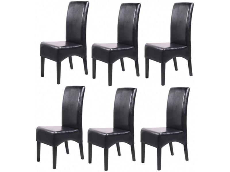 lot de 6 chaises de salle a manger fauteuil inclinable latina en cuir coloris noir pegane