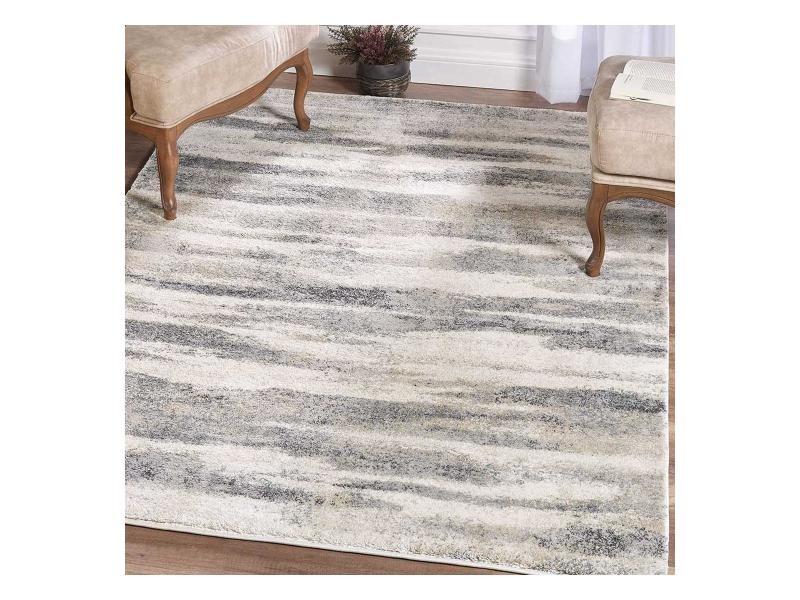 tapis design et moderne 160x230 cm rectangulaire kbl lagon creme salon adapte au chauffage par le sol