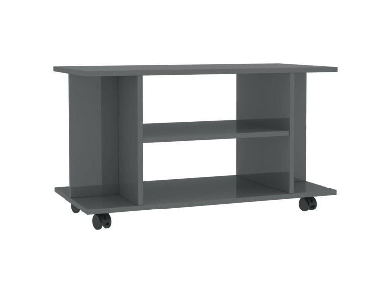 icaverne meubles tv famille meuble tv avec roulettes gris brillant 80x40x40 cm agglomere
