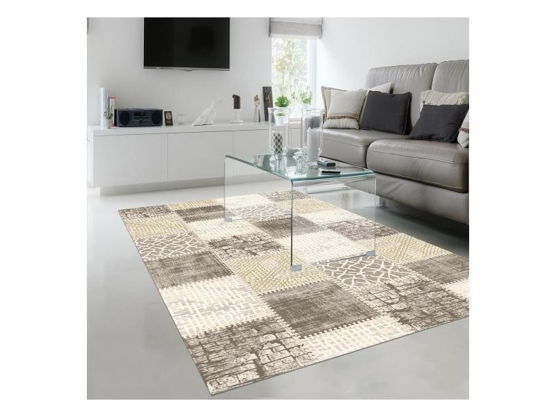 tapis design et moderne 160x220 cm rectangulaire khy silica beige salon adapte au chauffage par le sol