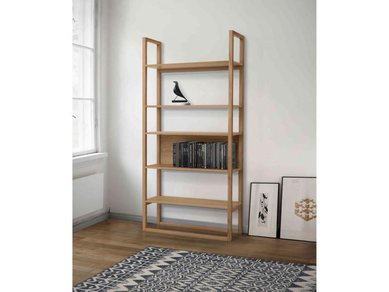 bibliotheque en bois massif imitation chene bi016