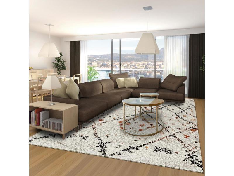 tapis style berbere 120x170 cm rectangulaire morocco style creme salon adapte au chauffage par le sol
