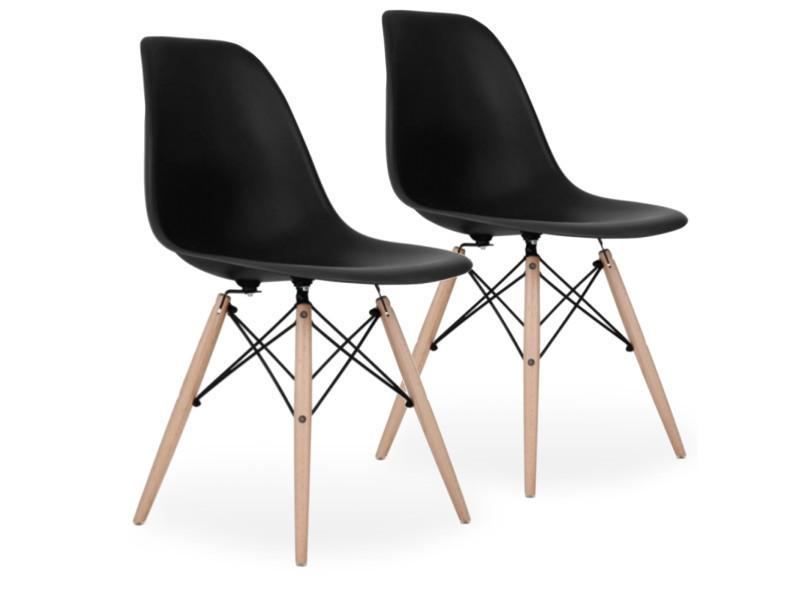lot de 2 chaises scandinaves noires style eiffel