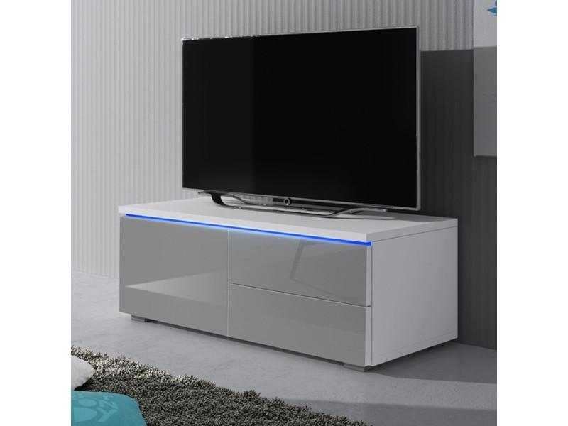 meuble tv luvitca singuli 100 cm blanc mat gris brillant avec led