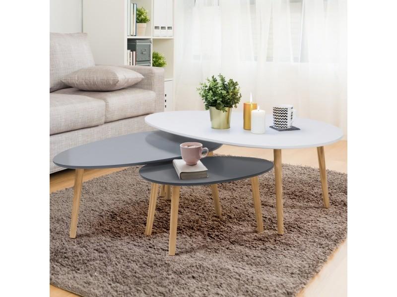 lot de 3 tables basses gigognes laquees blanc gris scandinave