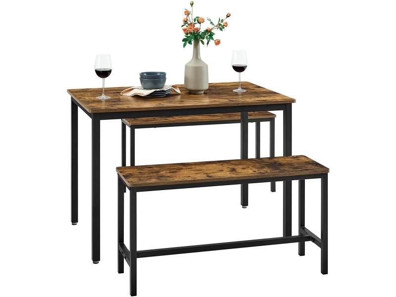 vasagle ensemble table a manger et bancs table de 110 x 70 x 75 cm 2 bancs de 97 x 30 x 50 cm cadre en acier pour cuisine salle a manger salon