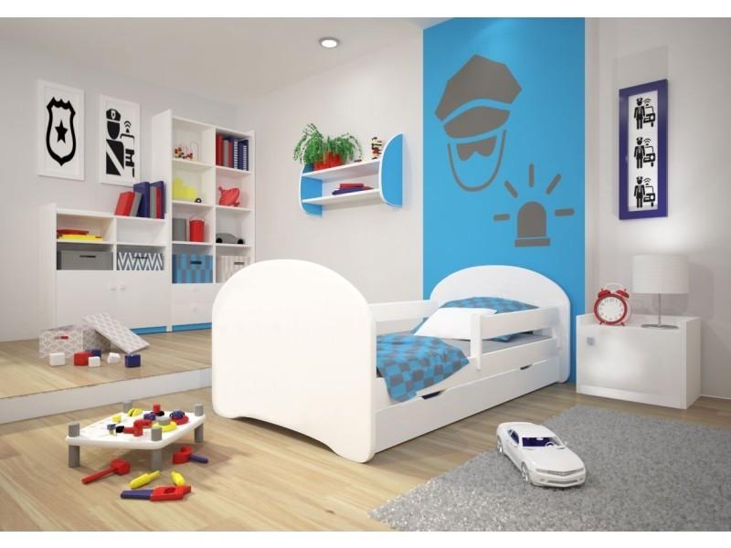 lit enfant 140x70cm avec tiroir sommier matelas barre de securite mbx blanc