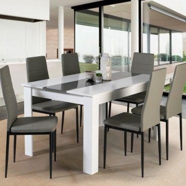 table a manger georgia 6 personnes blanche et grise 140 cm e32773857