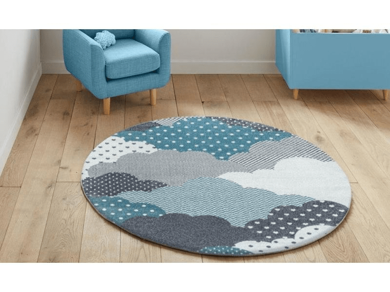 cloudy tapis enfant rond a motifs nuages bleu 120 x 120 cm
