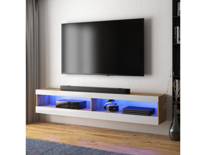 meuble tv viansola 140 cm chene lancaster blanc brillant eclairage led