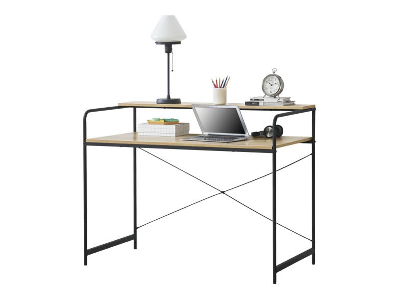 en casa bureau avec etagere poste de travail table panneau de particules de bois et acier revetu par poudre noir et chene 92 x 120 x 60 cm