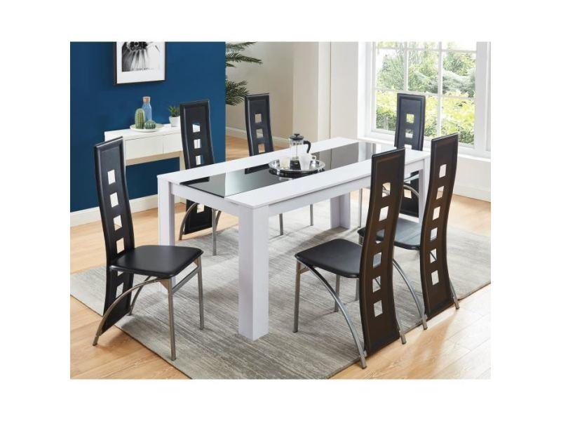 table a manger avec chaises damia ensemble table a manger 6 a 8 personnes 6 chaises contemporain blanc et verre trempe noir l 180 x l 90 cm