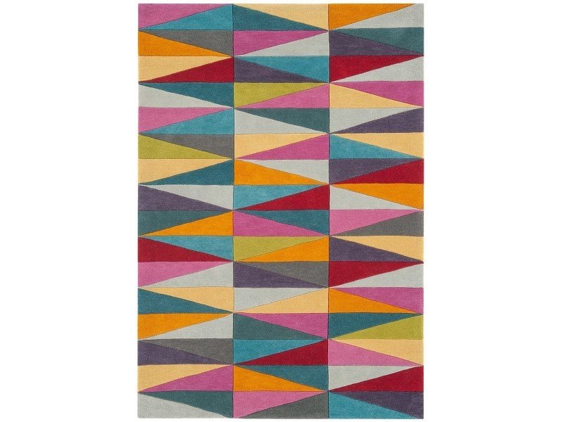 tapis pure laine a motifs colores flashy triangles 140x200 cm