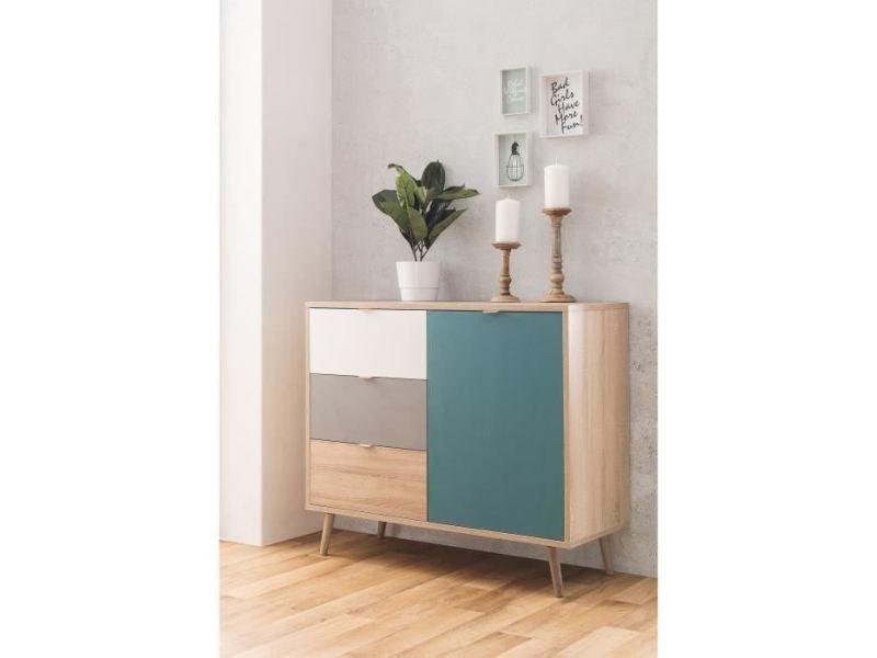 petit meuble de rangement cuba meuble de rangement scandinave chene gris et bleu petrole l 103 cm
