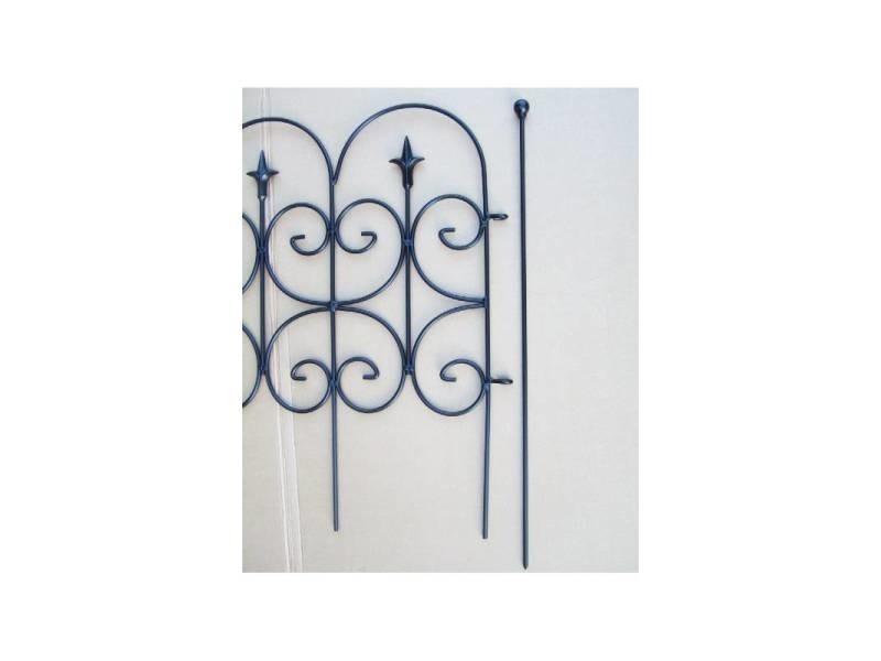 bordure fleur de lys cloture de jardin grille barriere modulable interieur exterieur fer forge peinture epoxy noir 2x80x130cm