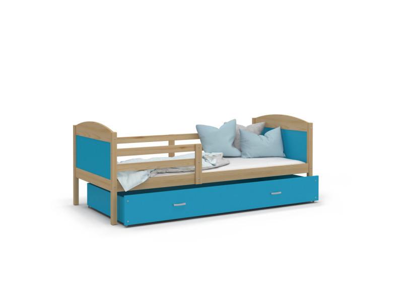 lit enfant mateo 90x190 pin bleu livre avec sommier tiroir et matelas de 7cm offert