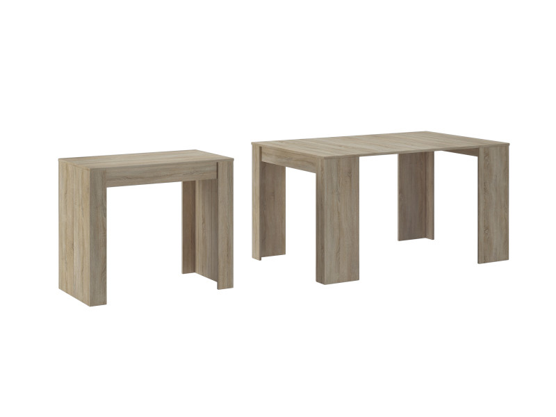table console extensible rallonges jusqu a 140 cm couleur chene clair brosse