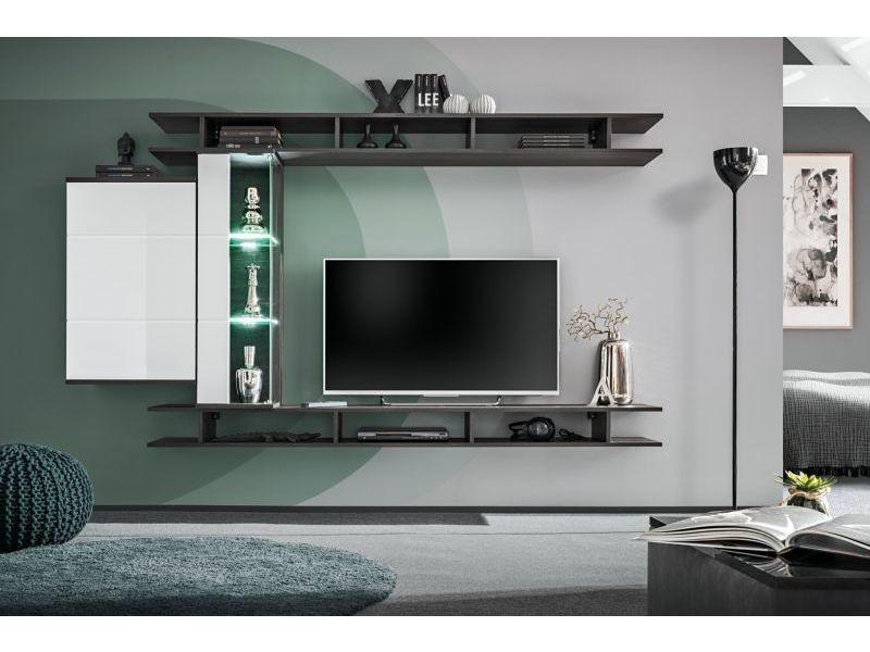 ensemble meuble tv mural game l 230 x p 35 x 130 cm blanc et noir