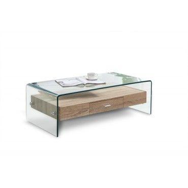 table basse en verre avec tiroir bois