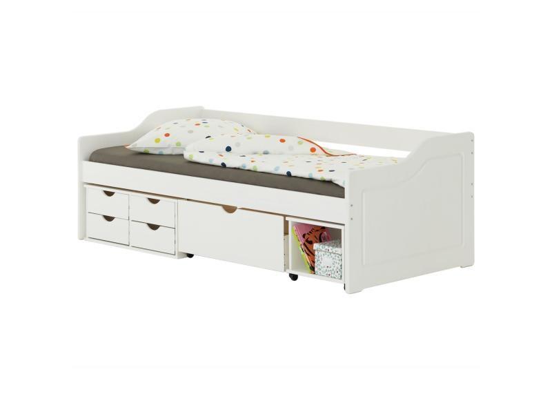 lit fonctionnel senta avec rangements 4 tiroirs 1 caisson et 1 niche sur roulettes couchage 90 x 200 cm en pin massif lasure blanc