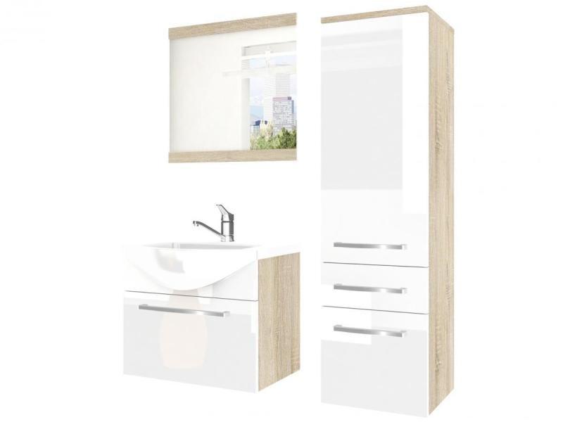arine ensemble meubles salle de bain 4 pcs miroir lavabo 50 cm meuble sous lavabo colonne a suspendre blanc sonoma