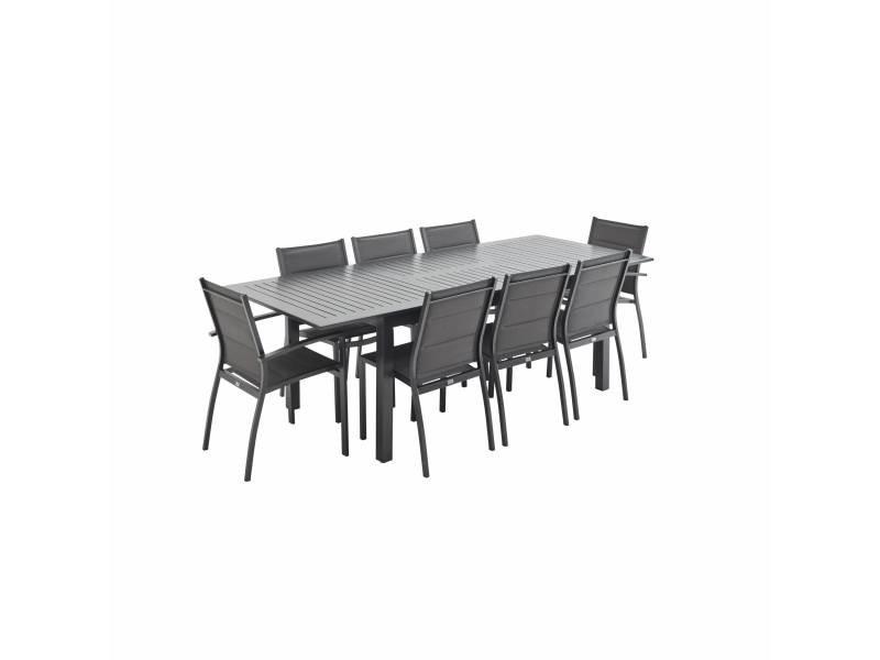 salon de jardin table extensible chicago anthracite gris fonce table en aluminium 175 245cm avec rallonge et 8 assises en textilene
