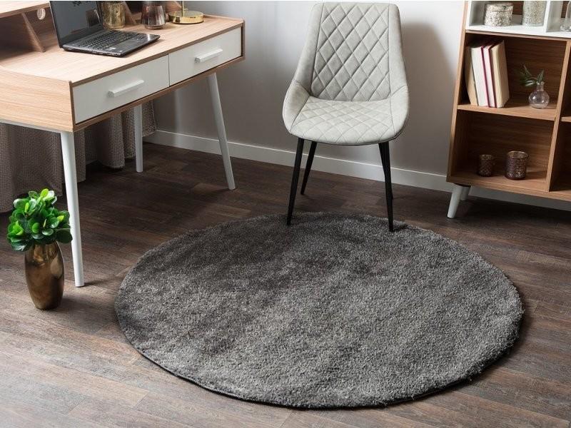 tapis rond en tissu gris fonce demre
