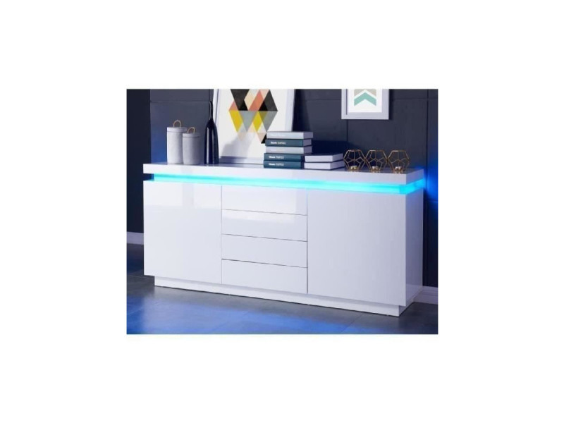 flash buffet bas avec led contemporain blanc laque brillant l 175 cm