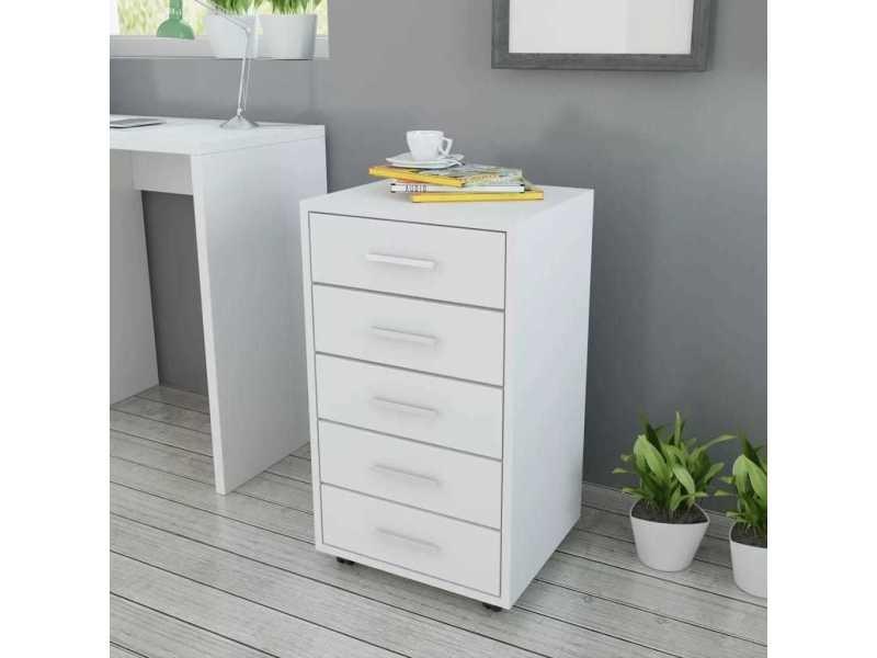 distingue armoires et meubles de rangement gamme oulan bator caisson a tiroir de bureau avec roulettes et 5 tiroirs blanc