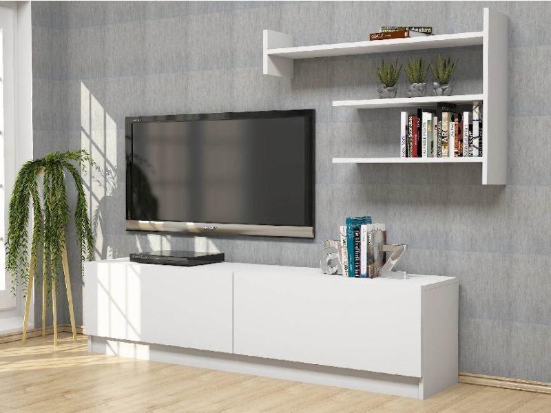 homemania meuble tv martin moderne avec portes etageres pour salon blanc en bois 160 x 33 6 x 40 cm
