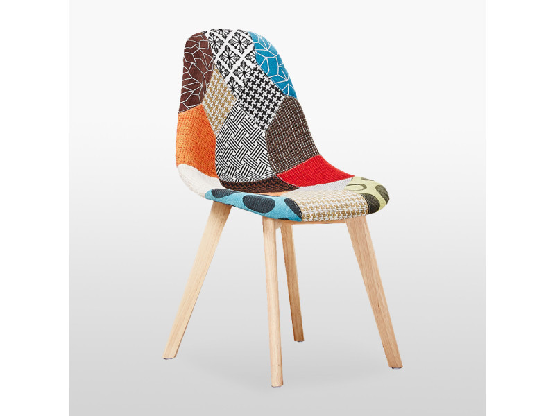 chaise scandinave patchwork rembourree