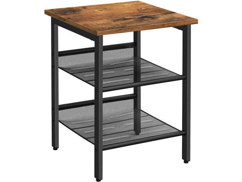 vasagle table d appoint table de chevet avec 2 etageres reglables en maille table de nuit pour chambre style industriel salon cadre en metal