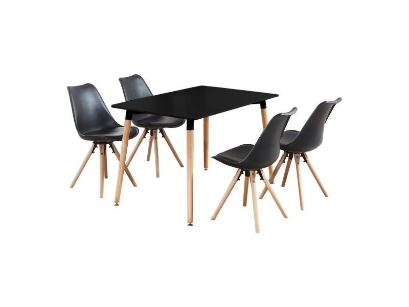 table noire et 4 chaises noires scandinaves sophie halo