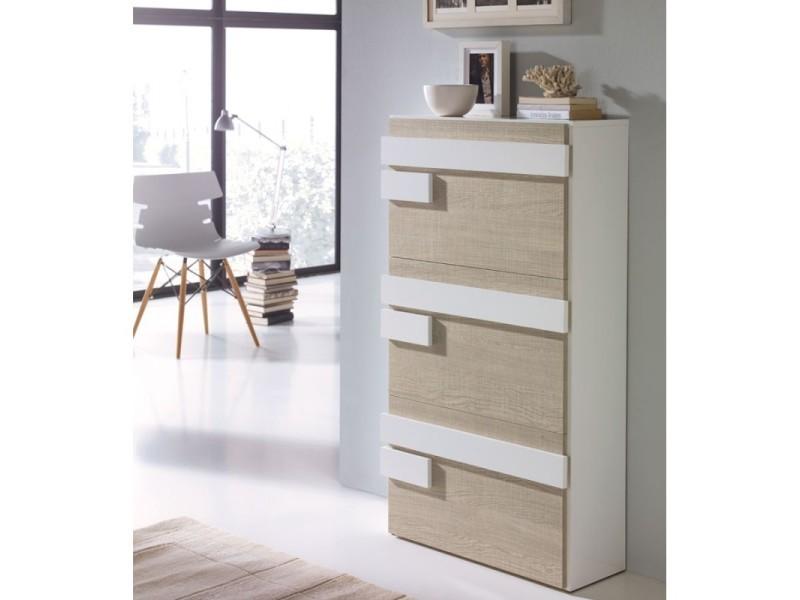 meuble a chaussures blanc chene clair jalia l 65 x l 29 x h 117 neuf