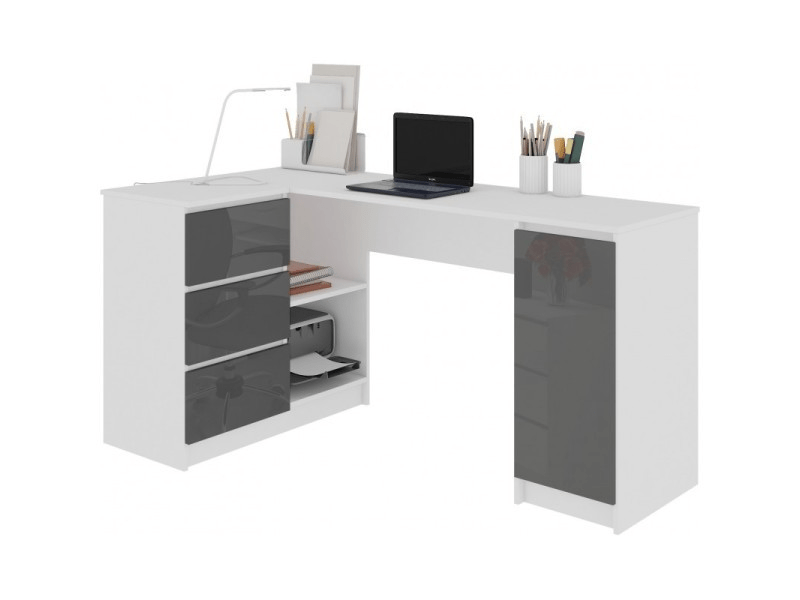 balaur bureau informatique d angle contemporain 155x85x77cm 3 tiroirs gloss table ordinateur multi rangements blanc gris laque