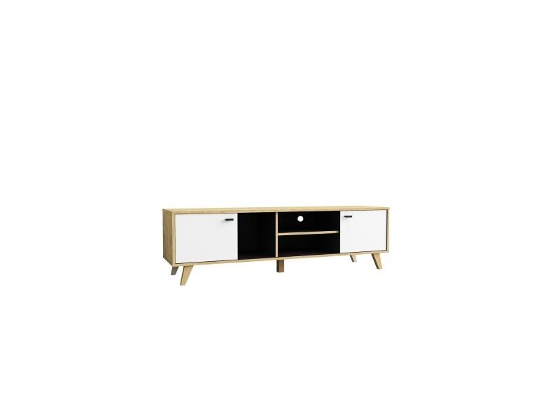 meuble tv en bois avec placards 224714