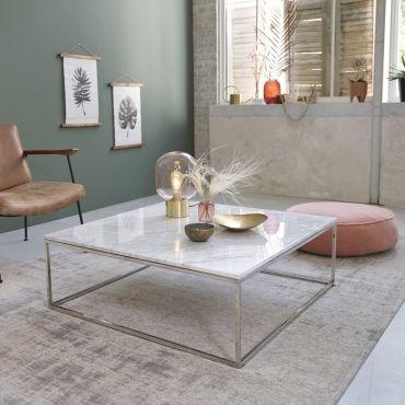 table basse carree en marbre et metal