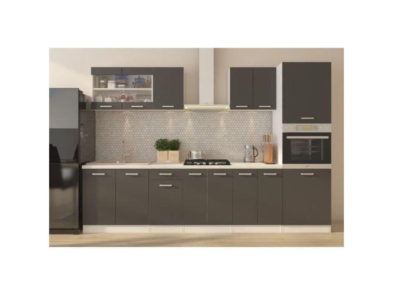 cuisine complete ultra cuisine complete avec colonne four et plan de travail inclus l 300 cm gris mat