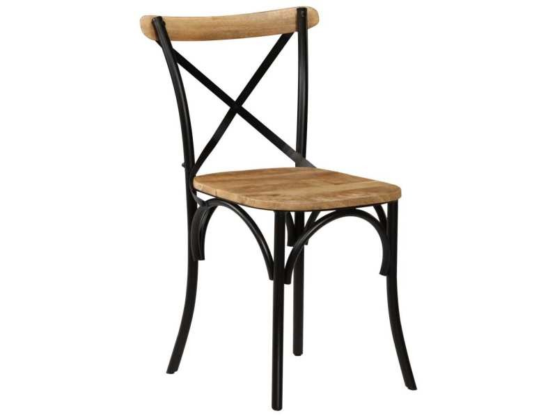 icaverne chaises de cuisine collection chaises a dossier croise 6 pcs noir bois de manguier massif