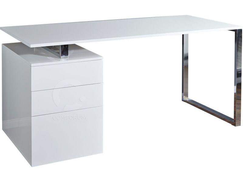Bureau moderne blanc bureau blanc laqué design avec tiroirs