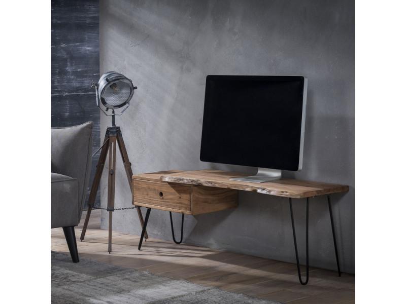 meuble tv vintage en bois d acacia sur pietement en acier sophie