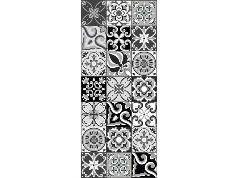 amadora tapis 100 vinyle imitation carreau de ciment 49 5x112 5 cm epaisseur 1 5 mm noir et blanc