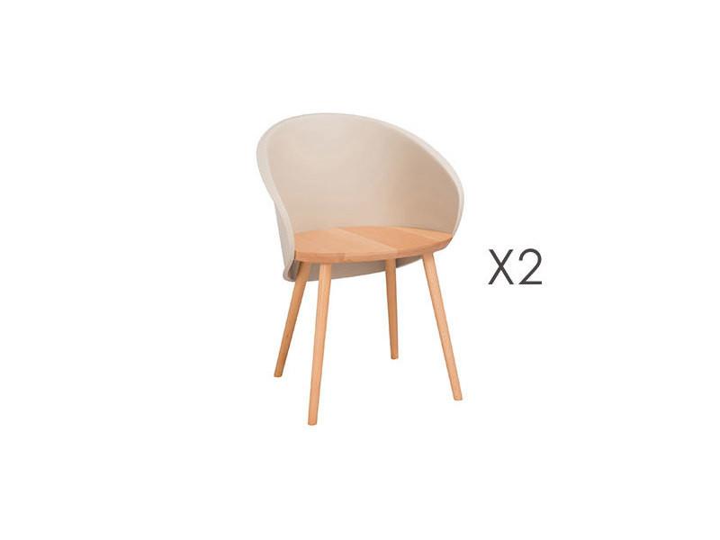 lot de 2 chaises coque beige et naturel