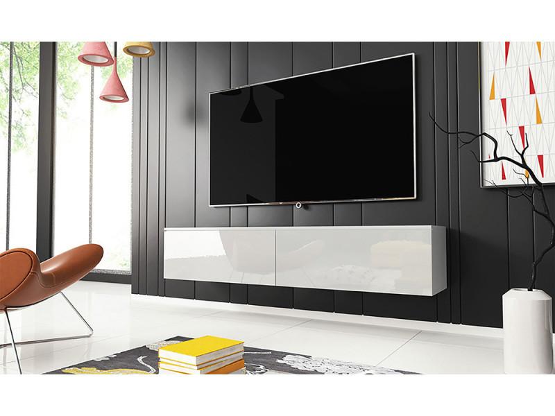 meuble tv kane 140 cm blanc mat blanc brillant