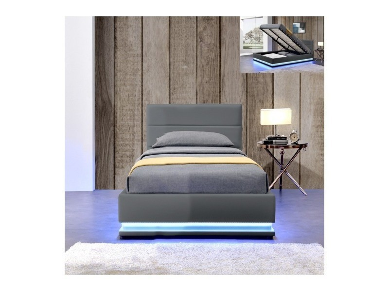 lit led avec coffre de rangement ava gris 90x190