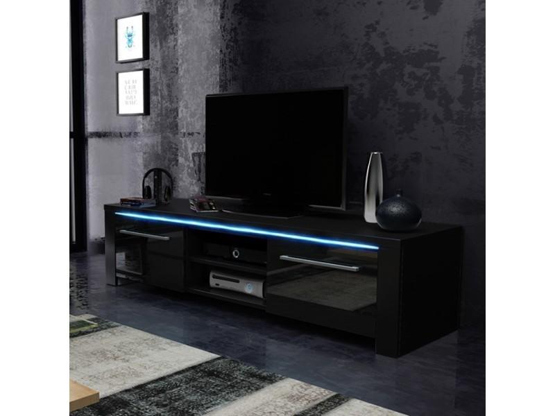 meuble tv banc tv messa 140 cm noir mat noir brillant eclairage led