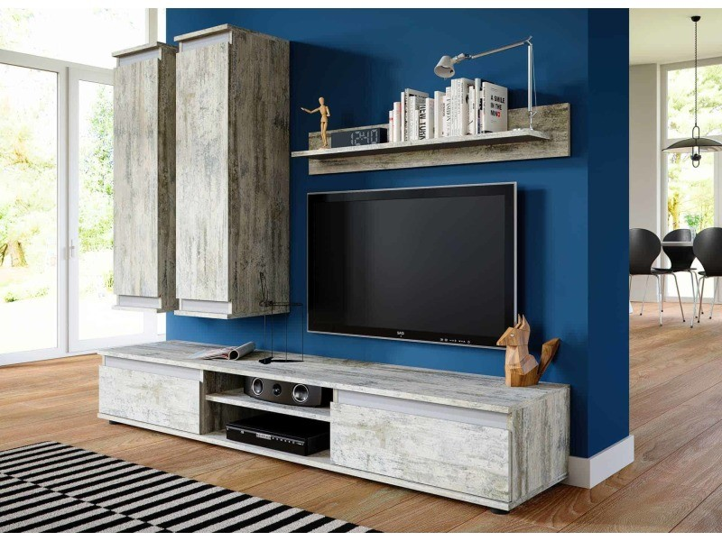 meuble tv de salon suspendu design gris