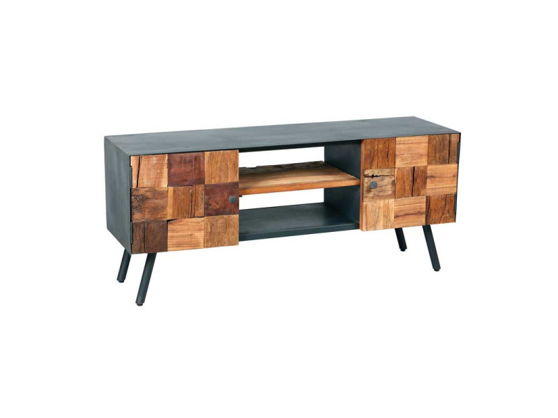 meuble tv 2 portes 2 niches acier noir bois massif chalerston l 130 x l 40 x h 56 neuf