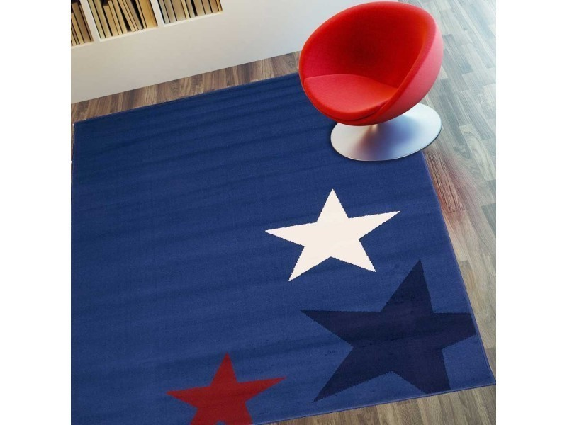 tapis chambre enfant star bleu 60 x 110 cm fabrique en europe tapis de salon moderne design par unamourdetapis
